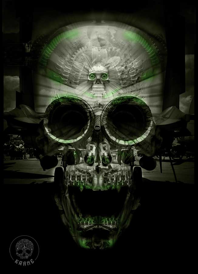 Black green skull by Krane